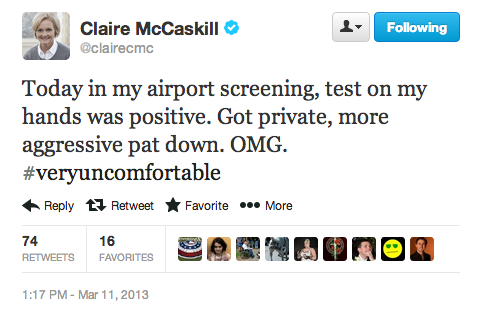 Missouri Senator Claire McCaskill on a #veryuncomfortable airport encounter. (h/t The Hill)