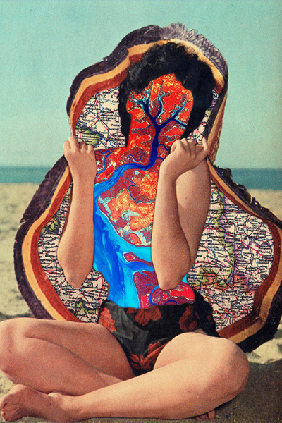 "eugenialoli:  ""Overly Sunbathed Woman with Map Hat"" by Eugenia Loli Follow the artist: TumblR 