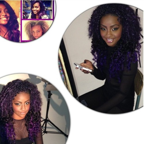 Hair styled by @karmelahairgirl color by @dougcolorist for @justineskye #gorgeous #popstar #beauty #work #major #star #purplehair