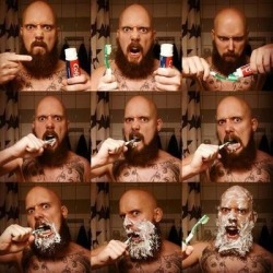 How a real man brushes his teeth.