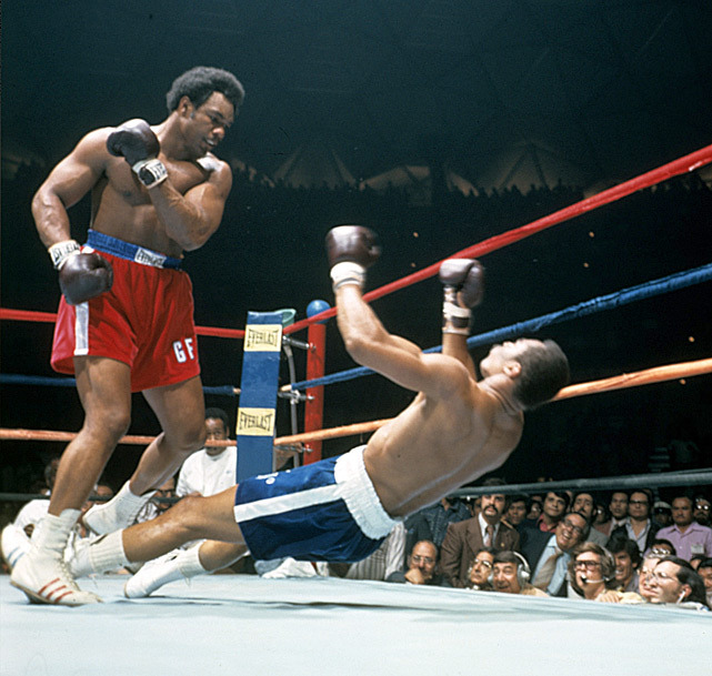 Happy 64th birthday to the great George Foreman. In this 1974 photo, Foreman knocks out Ken Norton during a fight in Caracas, Venezuala. (Neil Leifer/SI) GALLERY: Top 10 Heavyweights of All Time