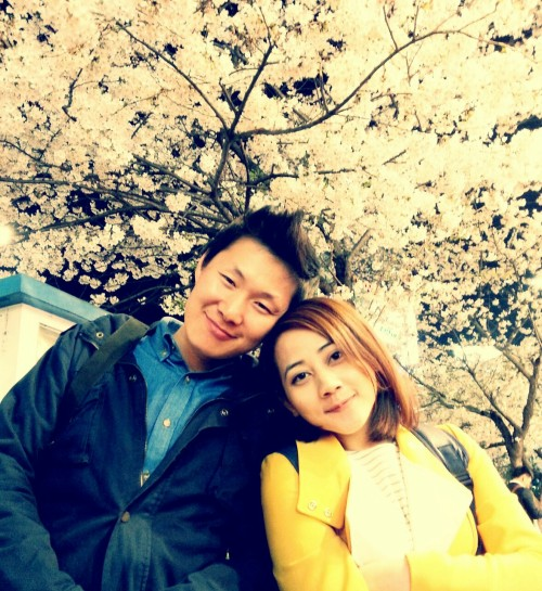 Saturday, April 13, 2013 - Sinchon.  Enjoying the blossoms at night.