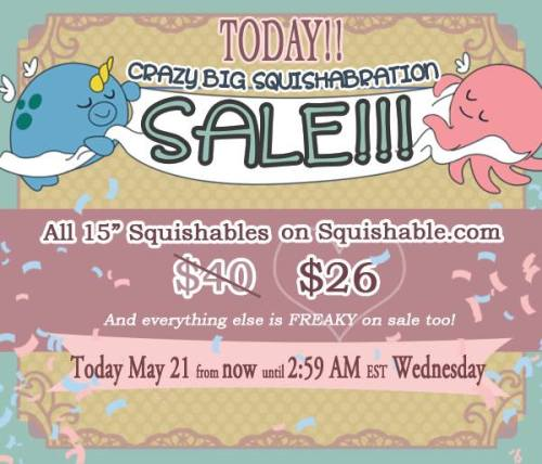 squishynews:  Happy Squishabration everyone!! All Squishables on the site are WAY ON SALE!!! We're celebrating Zoe and Aaron's upcoming nuptials and the company's 6th anniversary!! Wooo! Congrats guys!!! http://www.squishable.com