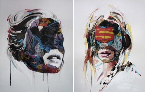 (via Beautiful Female Portraits Intermixed With Comic Book Collages - DesignTAXI.com)