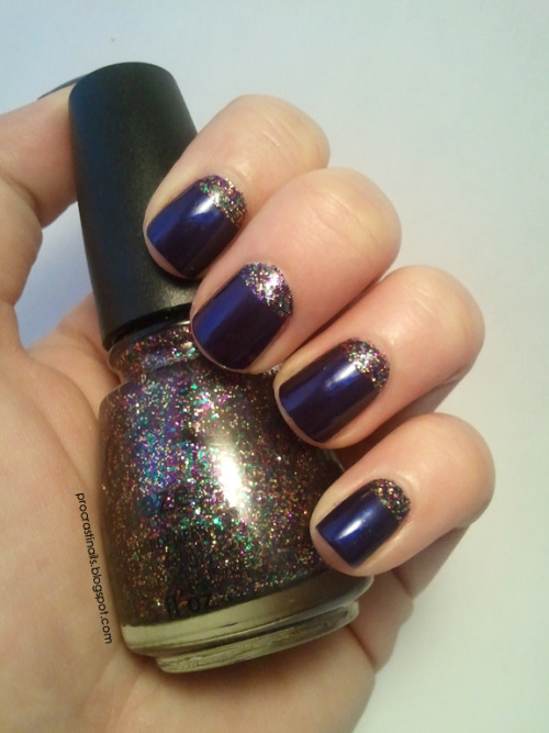 China Glaze Glitter All The Way and Bizarre Blurple Tape Mani The first design for my 2013 Nail Art Challenge was a colour you owned but hadn't used before… I used two I'd never tried, and now I love both colours! Success. :) More pics + details @ my blog