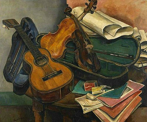 Mariano Andreau Still Life with Musical Instruments 1926