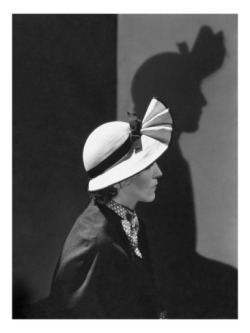 Gorgeously hatted 30s woman and her shadow, by George Hoyningen-Huene