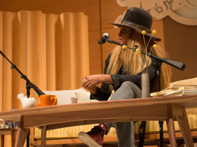 nprmusic:  Erykah Badu is far from your average pop star. Answering questions on stage in New York recently, she was more like a guru: She drew the audience close, received love and handled awkwardness with ease. Photo: Tony Blasko/Red Bull Content Pool