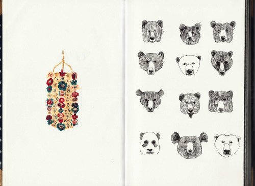 Training bear heads…with a column of flowers***sketchbook n#7