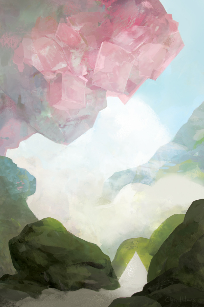 "indolentjellyfish:  Here's the whole painting I did for Light Grey Art Lab's Macro&Micro exhibition! I choose salt as my topic to fit the mineral theme (himalayan pink salt, black sea salt, and the truly exotic common table salt). This painting is not even a little bit geologically/scientifically sound but I enjoyed making it and really liked how it turned out. You can buy a 12"" x 18"" print of this here, you know, if you want to."