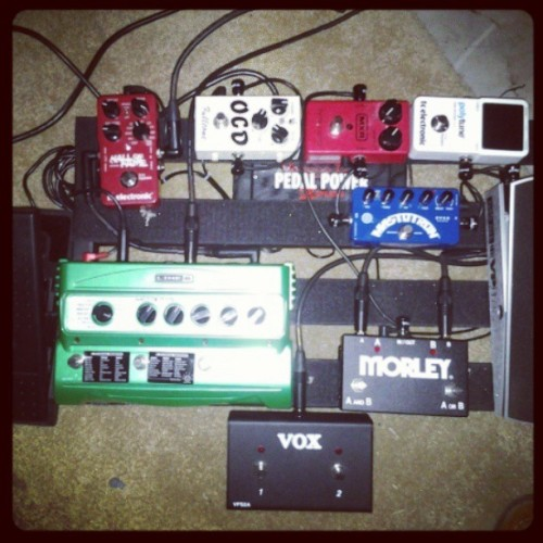 My pedal board as of now. The next step is building a board that can can actually fit everything. #guitar #guitarpedals #gear #music