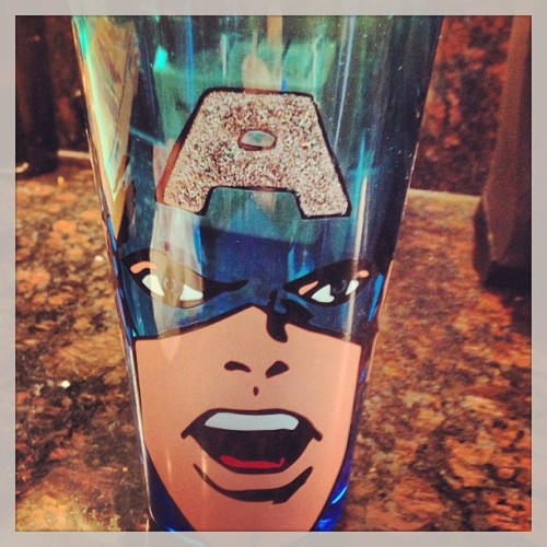 Favorite new glass #captainamerica #sparkles #marvel