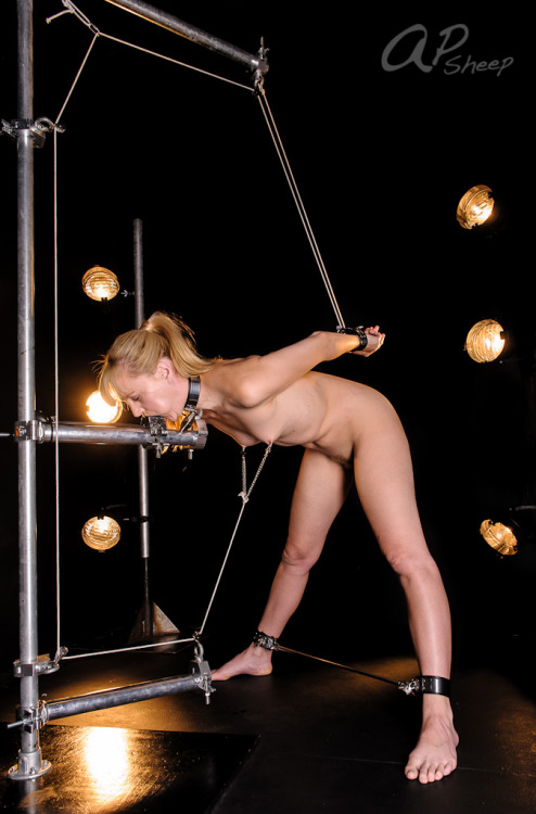 apsheep:  The Nipple to Wrist Pulley Strappado. Staring Ariel Anderssen. (Am I evil?)