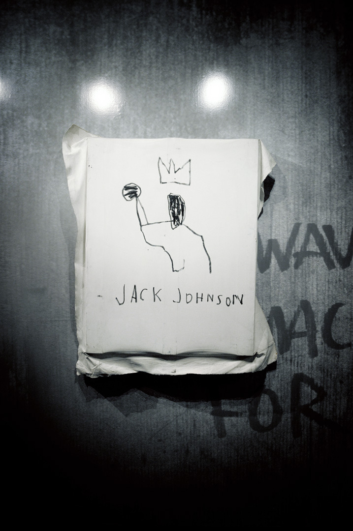 Jack Johnson A painting bylegendary Jean-Michel Basquiat that was shown last night at an event at Sotheby's hosted by Swizz Beatz. See more from the event and learn about Swizz' tattoos that were inspired by the late Basquiat.  Photo By: Andy Boyle