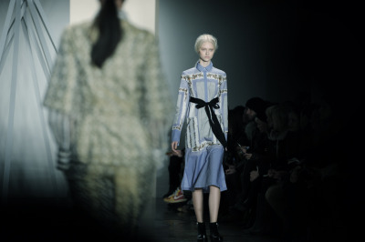milkstudios:  Suno vision hits next level Suno runway review at Milk Made. Photo by Andy Boyle.  Doesn't this look like a sweeter Givenchy from a couple of seasons ago????