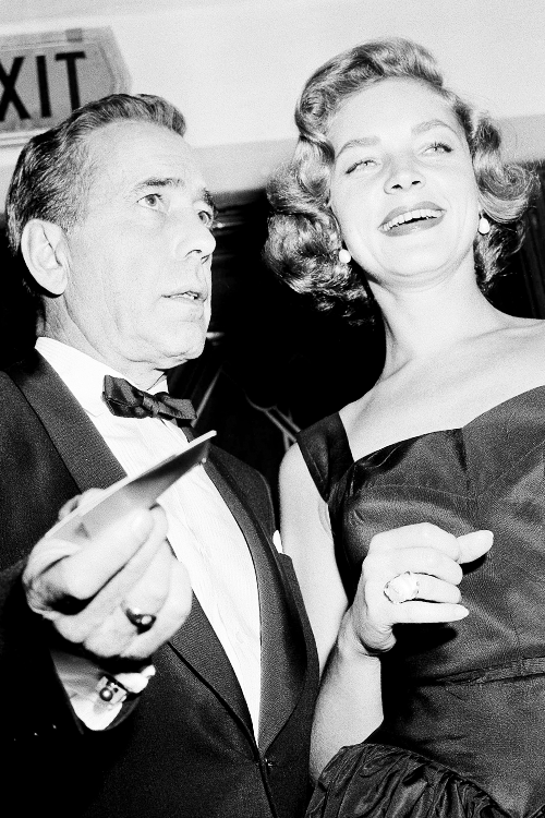 msmildred:  Humphrey Bogart and Lauren Bacall attend the premiere of 'The Desperate Hours' , October 10, 1955.