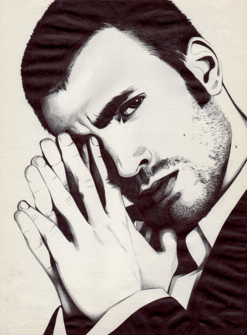 Chris Evans drawn with a black ballpoint pen (by me!). I LOOOOOOOOVE drawing with the ballpoint pen!! :-DD