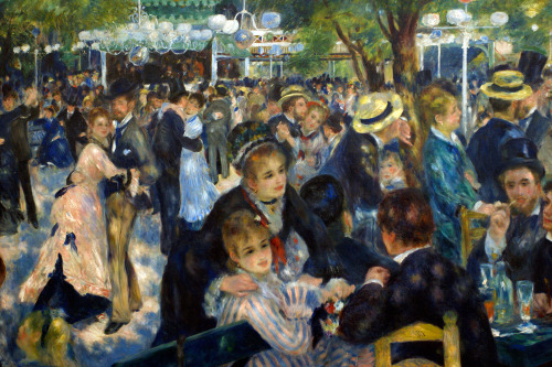 en art-library:  Pierre-Auguste Renoir, Le Moulin de la Galette, 1876.  A facet of Paris that drew the Impressionists' attention was the leisure activities of its inhabitants. Scenes of dining, dancing, the cafe-concerts, the opera, and the ballet were mainstays of Impressionism. Although seemingly unrelated, industrialization facilitated these pursuits. With the advent of set working hours, people's schedules became more regimented, allowing them to plan their favorite pastimes. Le Moulin de la Galette by Pierre-Auguste Renoir (1841-1919) depicts a popular Parisian dance hall. Some people crowd the tables and chatter, while others dance energetically. So lively is the atmosphere that the viewer can actually hear the sounds of music, laughter, and tinkling glasses. The painter dappled the whole scene with sunlight and shade, artfully blurred into the figures to produce just the effect of floating and fleeting light the Impressionists cultivated. Renoir's casual placement of the figures and the suggested continuity of space, spreading in all directions and only accidentally limited by the frame, position the viewer as a participant rather than as an outsider. Whereas classical artists sought to express universal and timeless qualities, the Impressionists attempted to depict just the opposite—the incidental and the momentary.