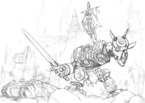 New Warhammer 40K sketch I'm working on A Black Templars Venerable Dreadnought leading a counter assault. I will be thinking of a backstory and name while I paint ^^