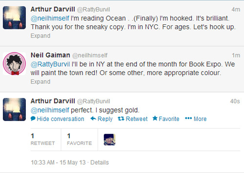 Arthur Darvill and Neil Gaiman on Twitter
