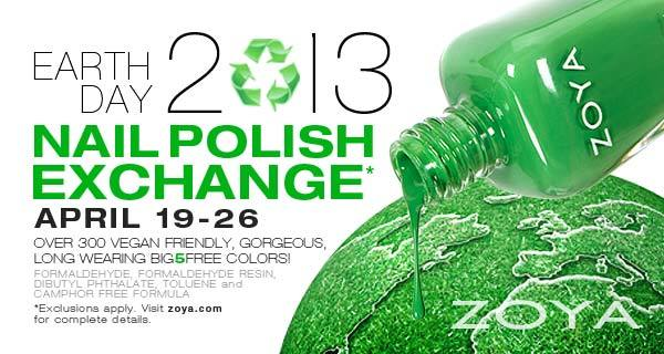 Zoya's Earth Day nail polish exchange is going on until the 26th!  For those of you who've never participated before, Zoya is letting you exchange your old (Non-Zoya/Qtica/Nocti) polishes for a 50% discount on up to 24 bottles of their polish! I'm definitely going to be participating this year - I've had my eye on the new Stunning and Irresistible collections since they first came out.  What colors are all of you looking to pick up?