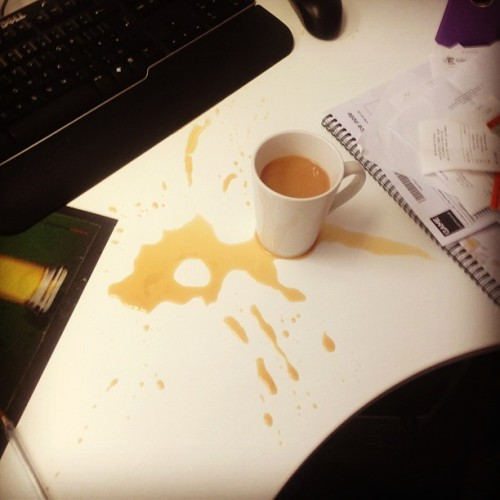 bloodsweatintensity:  Ermm.. This the reason I can't have nice things #tea #EVERYWHERE  Ahh yes. This happens. Lots. Though my favourite time was when I was trying to pour tea and watch something and over-filled my cup right beside my laptop. GOOD TIMES