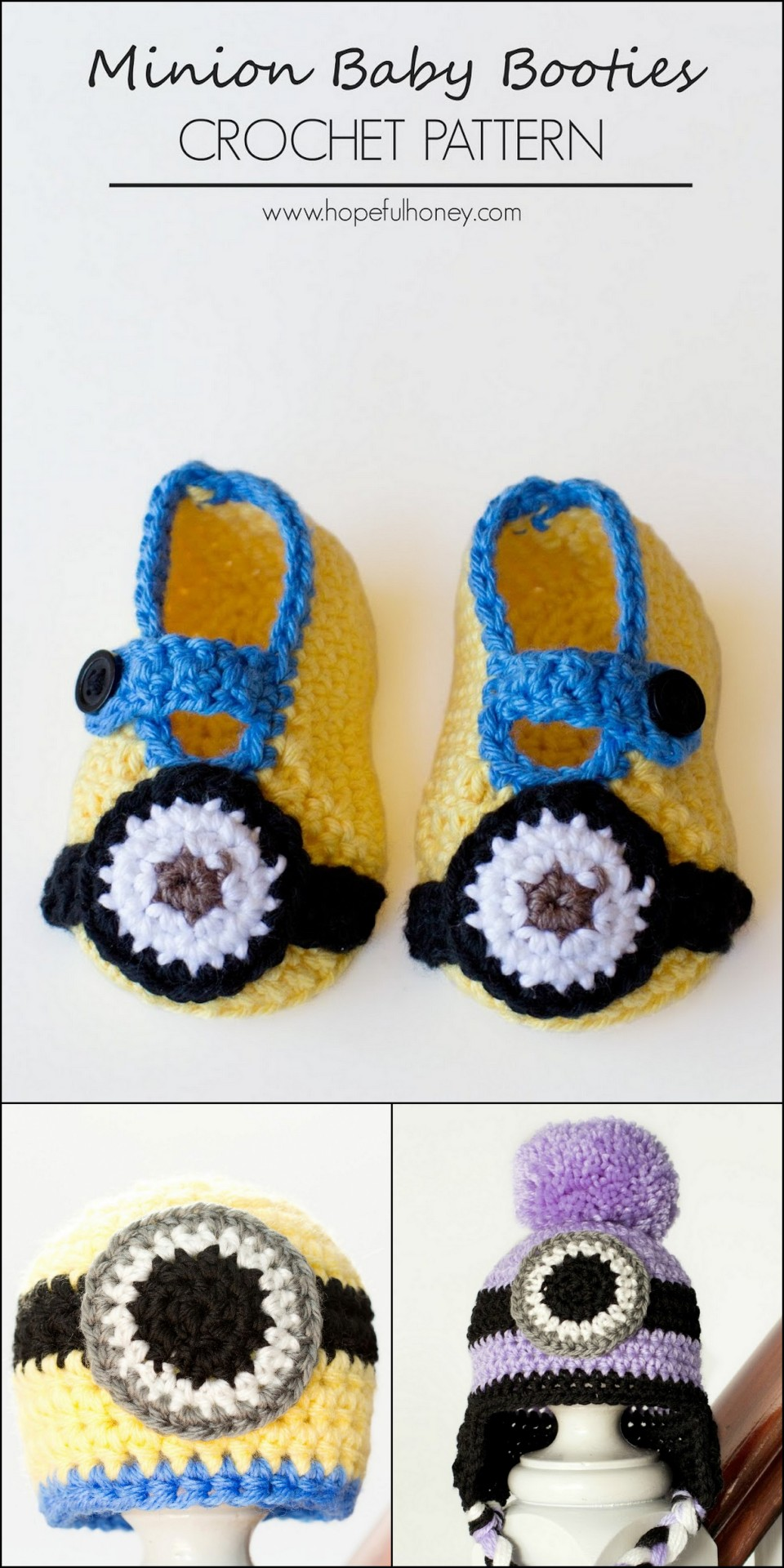 True blue me you diys for creatives diy crochet minion diy crochet minion newborn and baby booties and hats from hopeful honey crochet baby bankloansurffo Image collections