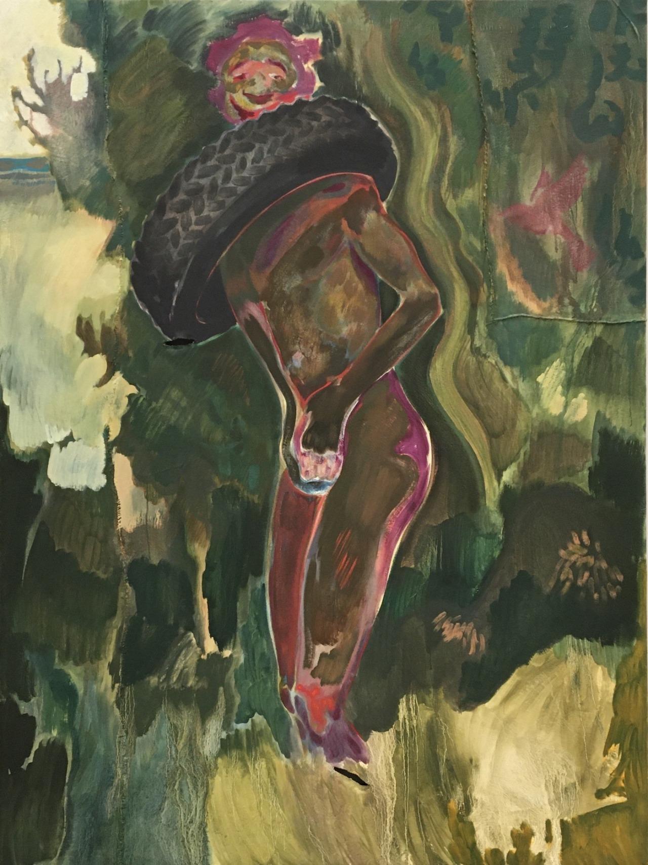 Michael Armitage (Kenyan, b. 1984), Necklacing, 2016. Oil on lubugo bark cloth, 200 × 150.5 cm.The Metropolitan Museum of Art, New York #michael armitage#kenyan art