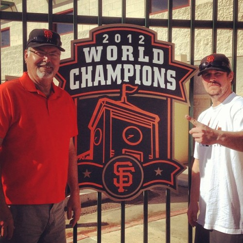 Me & the old man catching some BP before the gmen game today… #baseball #sfgiants #mlb #springtraining @brucescannell