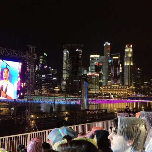 "We watched the first part of the live ""Celebrate 2013"" show in the rain! At The Float @ #MarinaBay. The stunning view that #NewYear's Eve #night was priceless! #Singapore"