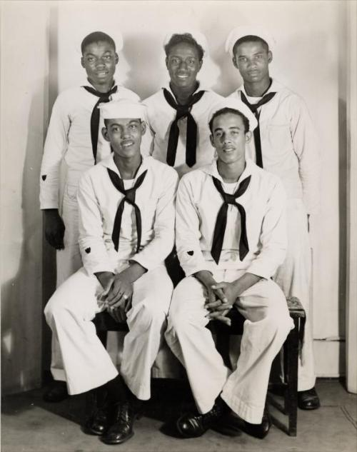 FINE MEN IN UNIFORM | 1940s Five young African American sailors pose for a group portrait in the Harris Studio, ca. 1940-1946. Charles Teenie Harris, photographer. Teenie Harris Photograph Collection, 1920-1970, Carnegie Museum of Art via Black History Album, The Way We WereFollow us on TUMBLR  PINTEREST  FACEBOOK  TWITTER