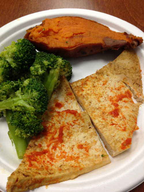 Broccoli, sweet potato and sriracha tofu