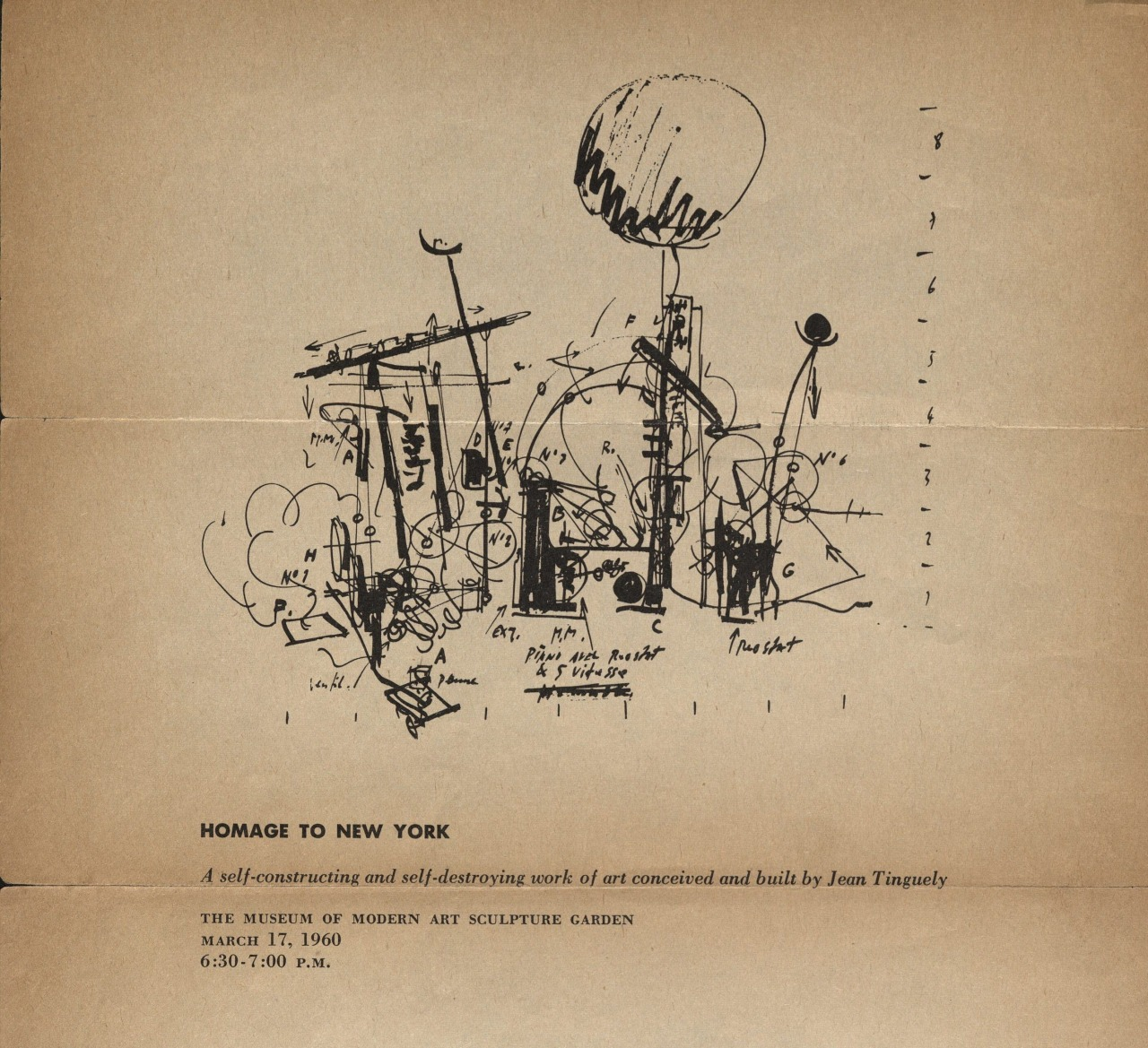 pleasecometotheshow:  A section of the broadside made for Jean Tinguely's Homage to New York at MoMA (1960).