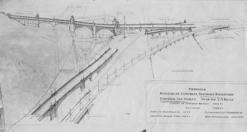 The plans for the Glendale-Hyperion Bridge, Los Angeles