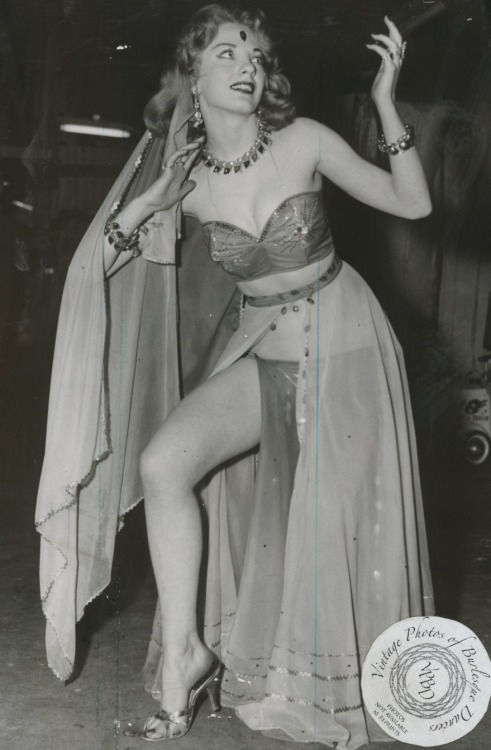 "burlyqnell:  Lilli Shawn: vintage 8x10 news service photo dated 14 may 1958, used to promote her appearance in the ""Springtime Revue"" show at the Follies Theater in Chicago, IL."