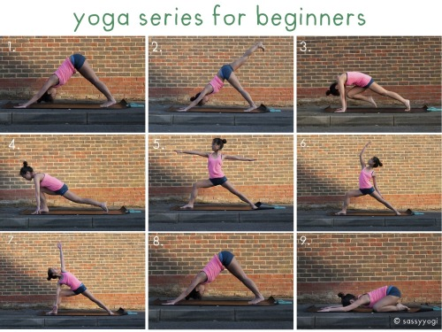 sassyyogi:  yoga series for beginners (i)! <: some of you guys have mentioned that it would be nice if i can include some beginner poses for yoga, and so this yoga guide is for those of you who want to get acquainted with yoga, but not quite sure how. below is a detailed description for each and every pose, and it's a good series to start with <:  1. downward facing dog start off in this position, making sure that your hips are pushed towards the ceiling, your heels reaching (or touching) the floor, and your arm pits opening towards the side, squeezing the shoulder blades on your back and letting your heart sink towards the floor. pedal your legs from side to side to ease into the pose.  continue breathing slowly and it is a nice relaxing position. you should feel a nice stretch at your calves. gently close your eyes and stay in this position for about 10 breaths.  2. three legged dog lift up your right leg, and while doing so, press your left feet towards the ground, grounding your position. make sure that your hips are still leveled, while reaching your right leg as high up as possible.  make sure that equal weight is still distributed on both your right and left hand side. continue stretching upwards and breathe deeply. stay in this position for about 10 breaths. 3. after which, bend your right knee to meet your forehead. a couple things to note: tilt forward as you shift your right knee towards your forehead such that your shoulder is directly above your wrists hunch your back and engage your core muscles make sure that you are at the tips of the left toes you can alternate between #2 and #3 a couple of times, holding pose #3 for a few breaths at the last alternation.  4. lunge from #3, bring your right leg all the way to the front, coming to a forward lunge. make sure that your knee is directly above your ankle, tent your hands such that only your fingerpads are touching the floor, and reach your heart forward.  you can choose to close your eyes and stay in this pose for a few breaths.  5. warrior II once you are ready, reach your hands towards the sky and come to warrior II pose. a few things to note: make sure that your left feet is entirely on the floor, parallel to the back of your mat.  your right knee should be directly above your right ankle. do not go beyond your right ankle, as that might injure your knee.  shift your right knee slightly towards the right, such that your knee is not collapsing towards the left side.  engage your core and power up your quads, and at the same time, keep your arms straight and light.  stay in this position for around 5 to 10 breaths. 6. exalted warrior from warrior II, lean back and raise your right arm towards the sky. shift your gaze towards your right hand as well. bend your back but at the same time, do not put all your weight on your left hand. your left hand should still be placed lightly on the back of your left thighs.  you should feel a nice stretch on the right side of your torso. stay in this position for about 5 to 10 breaths. remember to continue to engage your legs and your core muscles. 7. triangle pose after that, move your torso towards the front, keeping your right knee bent, and make sure that your right arm is in front of your right knee. your right elbow and right knee should touch, forming a nice triangle between your torso, your arm, and your thigh.  open your heart up towards the sky and do not hunch your back, making sure that you form a nice, straight plane. you should feel a stretch along the left side of your torso.  if you feel stable enough, shift your gaze up towards the sky, looking at your left hand. continue to power up your back leg, do not shift your body weight on to your right leg. stay here for 5 to 10 breaths. 8. downward dog return to your downward facing dog, and repeat the sequence (2 - 7) again on the opposite side.  9. child's pose after completing the sequence on the other side, return to child's pose.  big toes to kiss, place your knees on the edge of your mat, allowing your torso to fall gently in between your thighs. place your forehead on the ground, and your arms gently beside your head.  melt your torso in between your thighs, and you should feel a bit of sensation in your hips. it is a great passive hip opening pose. you can stay there as long as you want. Remember (CAUTION): always listen to your body. if a certain pose gets too intense for you, back off. when holding on to a pose, always remember to breathe deeply, as that would help you ease into a pose more easily.  Benefits: helps to decrease back and shoulder pains improves blood circulation stretches and strengthens the thighs and calves muscles strengthens the back and leg muscles opens up the ribs