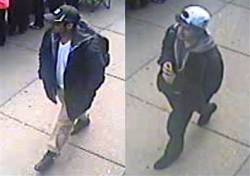 skarver:  These two men have been identified by the FBI as suspects in the Boston Marathon bombing. They are considered 'armed and extremely dangerous.' If you have tips, please call 1-800-CALL-FBI or visit  bostonmarathontips.fbi.gov. For more information, including security footage of the suspects, see: http://usnews.nbcnews.com/_news/2013/04/16/17784776-fbi-releases-video-of-two-dangerous-suspects-in-boston-bombing  —- Please be aware that innocent people are being targeted because of the crowd photos circling the internet and rampant misinformation. See: http://deadspin.com/the-boston-bombing-witch-hunt-bags-another-innocent-kid-476001019