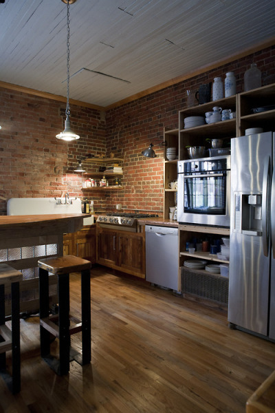 myidealhome:  how about raw bricks and steel in the kitchen?