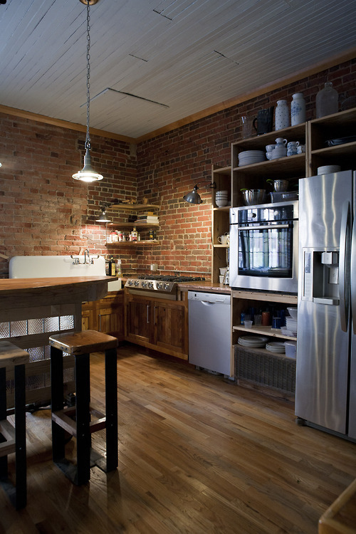 how about raw bricks and steel in the kitchen?
