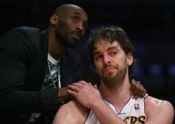 nbaoffseason:  This photo of Kobe and Pau is going to be legendary.   I've always hated Pau. But with all the unfortunate events that the Lakers have been through, Pau was the one. So I will now forever be a fan of you Pau Gasol. I hope for you to come back next season. I hope for the lakers to be back for a REAL season.