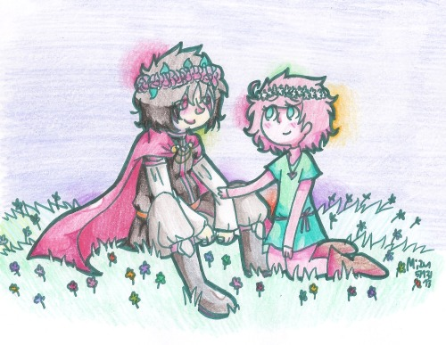 mizudraws:  nature boyfrands, complete with kawaii flower crowns full view  Awww.