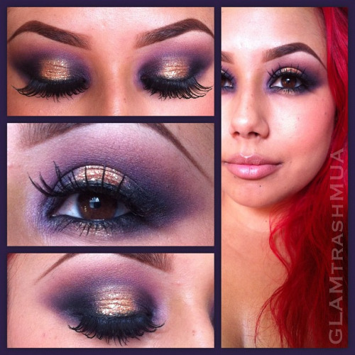 Purple and gold #eyeshadow #GLAMtrashMUA #GLAMtrashMAKEUP #purpleeyeshadow #goldeyeshadow http://instagr.am/p/SjVT3yw3Rz/