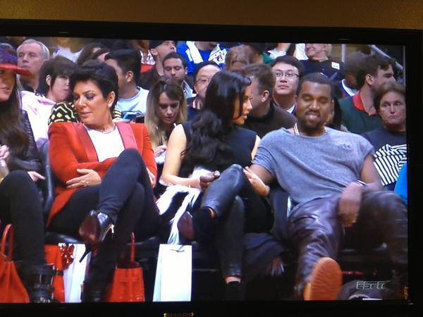 Bruce Jenner, Kanye West - s/o 2 Bruce Jenner sitting alone a row behind his family and Kanye West a