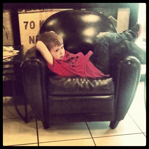 Coffee shop kid kickin back