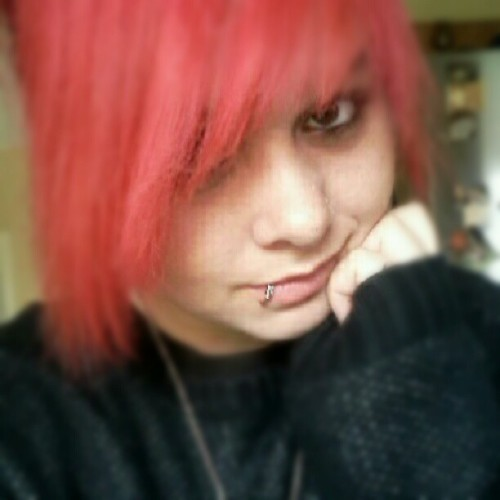 Feeling a bit better today.  #Emo #RedHair #DirectionsHairDye #Jumper #Necklace #NoseStud #LipPiercing #Smile #Eyeliner #Mascara