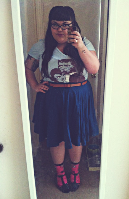 This outfit is half what I wore today, half new skirt I just pulled out of the bag.  Things to do: iron skirt and clean hallway mirror… skirt/belt - asos, socks - my mother (they have betty boop on them <3), shoes - modcloth, tshirt - threadless