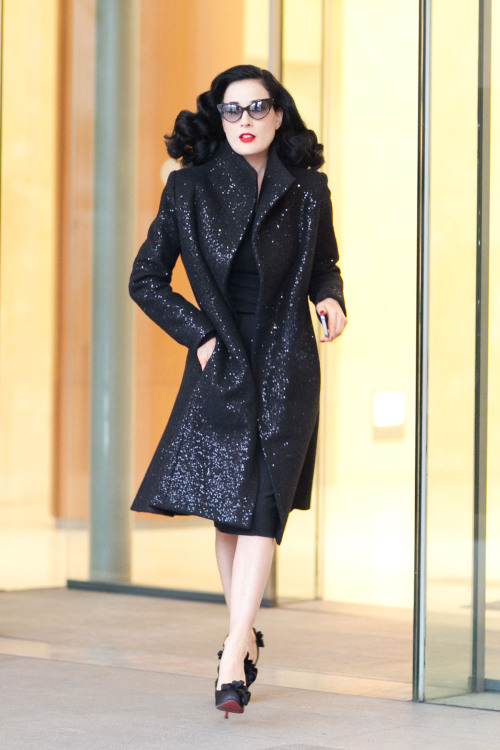 "Dita Von Teese before Elie Saab Haute Couture SS13 - January 2013, Paris Photo: Melodie Jeng She walked into another building  for a moment before the show and some photographers were like ""THERE'S NO OTHER WAY OUT… SHE HAS TO COME OUT!!!!…."" because they needed their photos. That moment is forever engrained in my mind."
