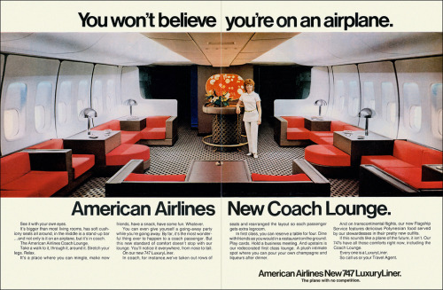 lostin70s:  American Airlines New 747 Coach Lounge, 1971