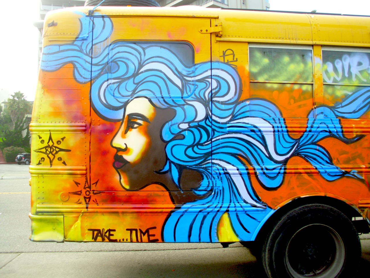 "Live Painting I did on a schoolbus at Oakland's ""Art Murmur"" First Fridays of the month. at 22nd and telegraph."