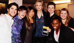 The Glee Gang & Kristin Chenoweth Go Backstage to Welcome Annie's Jane Lynch to Broadway